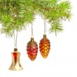 Christmas bell and two cones. Christmas decoration on the tree — Stock Photo