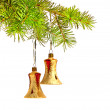 Two Christmas bells, decoration on the tree — Stock Photo