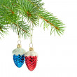 New year toys. Blue and red cones on Christmas tree — Stock Photo