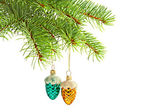 Christmas green and red cones toys and fur-tree branch — Stock fotografie