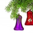 Christmas violet  and red bells  on new year tree — Photo