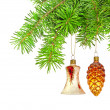 Royalty-Free Stock Photo: Christmas yellow bell and golden cone  on new year tree