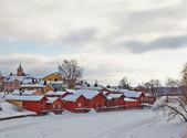 芬兰。老波尔沃在冬天。多云的日子 — 图库照片