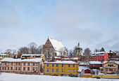 Finland. Old Porvoo in winter — Stockfoto