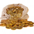 Royalty-Free Stock Photo: Gold coins fall out of a canvas bag