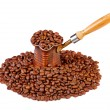 Royalty-Free Stock Photo: Old turkish copper coffee pot full of coffee beans and cofee bea