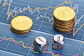 Dices cubes with words SELL BUY, stacks of coins and a up trend — Stock Photo