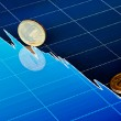 Golden coins on downtrend chart. Selective focus — Stock Photo