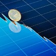 Ten-ruble coin slides down on downtrend chart. Selective focus — Stockfoto