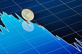 Ten-ruble coin slides down on downtrend chart. Selective focus — Stock Photo