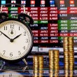 Three uptrend stacks of golden coins, clock and financial chart  — Foto Stock