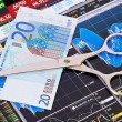 Scissors cutting  euro  banknote. Financial charts and columns o — Stock Photo