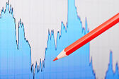 Downtrend financial chart and the red pencil. Selective focus — Stock Photo