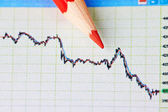 Downtrend chart and red pencil. Selective focus — Stock Photo