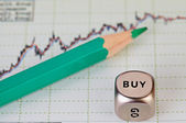 Uptrend financial chart of the stock market, green pencil and d — Stock Photo