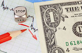 Downtrend financial market chart, red pencil, red arrow, dices c — Stock Photo