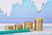 Uptrend golden coin stacks, green pencil and financial chart as — 图库照片