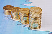 Uptrend stacks coins,on the financial stock charts as background — Stock Photo