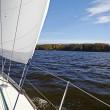 Yacht. Sailing on the lake in autumn sunny day. Luxury Lifestyle — Stock Photo #34308709