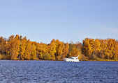 Motorboat on an autumn lake — Stock Photo