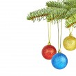 Christmas decoration. Christmas tree and colored balls on white — Stock Photo