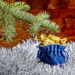 Christmas decorations. Blue sack with christmas presents, fir-tr — Stock Photo