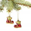 Christmas decoration. Red Santa's boots, fir-tree isolated on w — Stock Photo