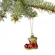 Christmas decorations. Red Santa's boot, Christmas tree isolated — Stock Photo