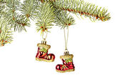 Christmas decoration. Red Santa's boots, fir-tree isolated on w — Stok fotoğraf