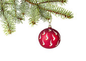Decorated Christmas tree on white background — Stok fotoğraf
