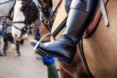 Riding boots and stirrups — Stock Photo