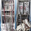 Stock Photo: Cable mess in nuclear laboratory