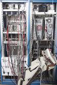Cabo a confusão no laboratório nuclear — Fotografia Stock
