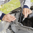 Changing car halogen bulb — Stock Photo #13208493