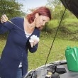 Checking oil  level in the vehicle — Stock Photo