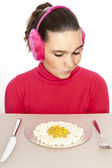 The girl with tablets on plate — Stock Photo
