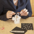 Stock Photo: Making cotton-wool snowman