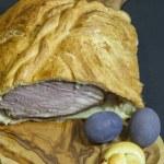 Delicious big ham baked in bread dough — Stock Photo #23167514