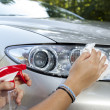 Cleaning car on sunny morning — Stock Photo #29024653
