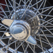 Stock Photo: Vintage car wire wheels