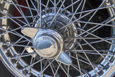 Vintage car wire wheels — Stock Photo