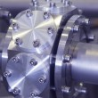 Stock Photo: Details of ION accelerator industrial blue toned