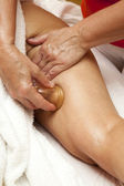 Anti cellulite massage with Ventuza vacuum body puller — Stock Photo