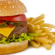 Burger and french fries - Stock Photo