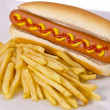 Hot dogs and french fries — Stock Photo