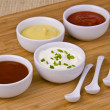 Fresh homemade sauces — Stock Photo