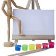 Canvas,brushes and easel - Stock Photo