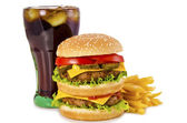 Burger, french fries and cola — Stock Photo