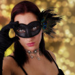 Beautiful young woman in carnival mask — Stock Photo #28178439