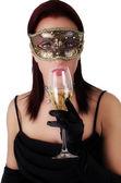 Piękna kobieta w karnawałowe maski. — Zdjęcie stockowe
